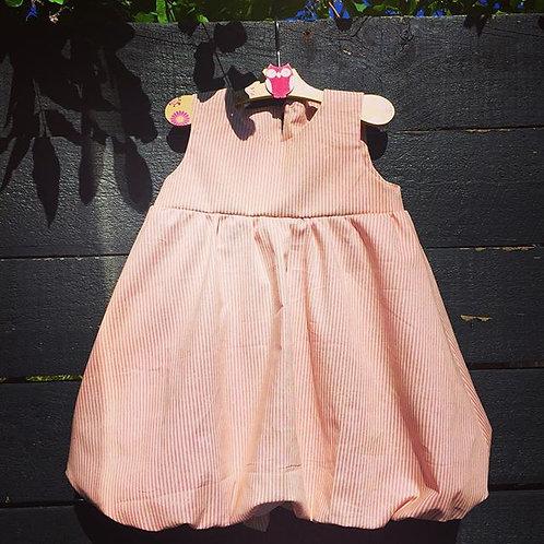 Pink and white stripe bubble dress