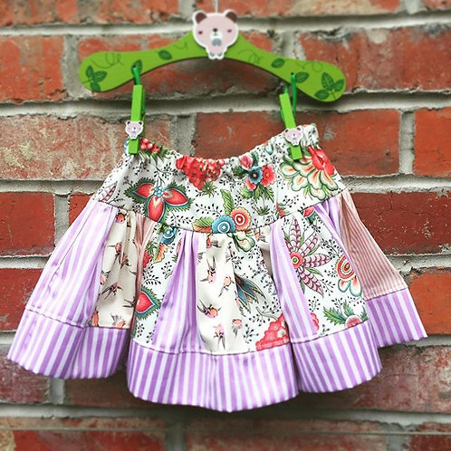 Sew Sustainable Twirly skirt stripes and flowers