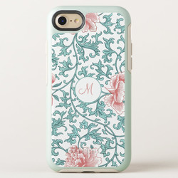 Peach and Mint Floral Monogram