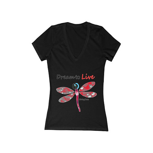 "Women's Giving Gear ""Dream to Live"" Jersey Short Sleeve Deep V-Neck Tee"