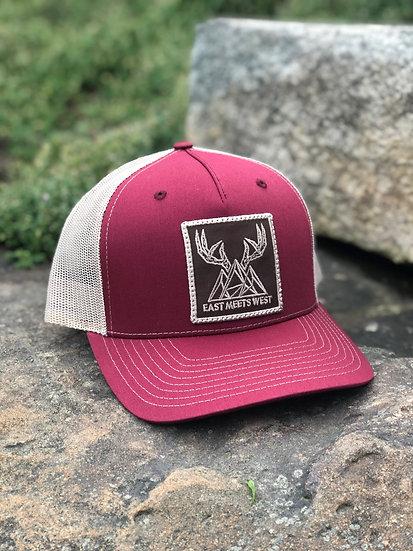 MOUNTAIN BUCKS 5-PANEL PATCH HAT - CARDINAL/TAN