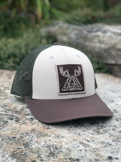 MOUNTAIN BUCKS 6-PANEL PATCH HAT -TAN/LODEN/BROWN