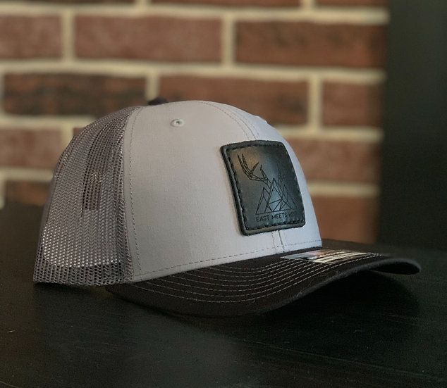 SALOON BLACK LEATHER PATCH HAT - HEATHER GREY/BLACK
