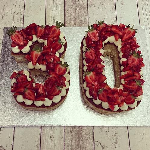 Fresh Fruit Number Cake