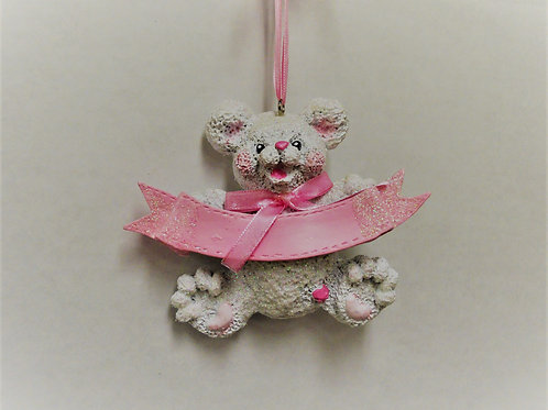 white bear with pink banner