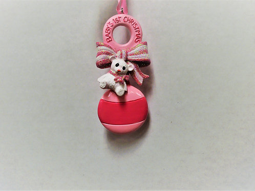 baby's 1st christmas pink rattle