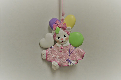 baby's 1st christmas white bear with balloons