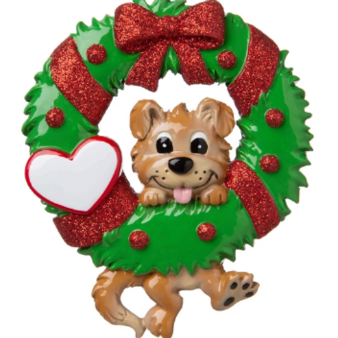 dog on wreath