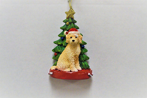 labradoodle with christmas tree