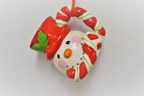 porcelain snowman mug, red hat