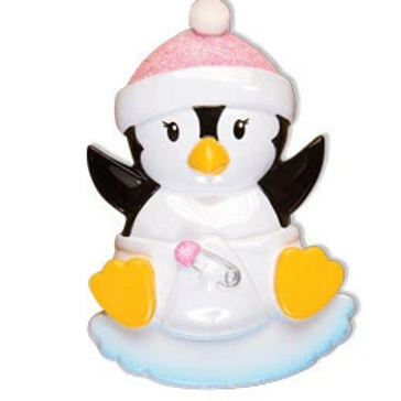 baby's first christmas penguin, pink
