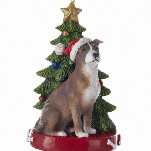 pit bull with christmas tree
