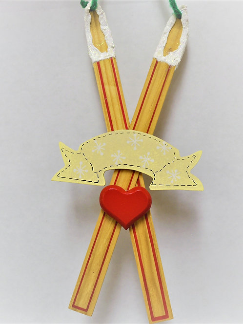 wooden skis with heart and banner