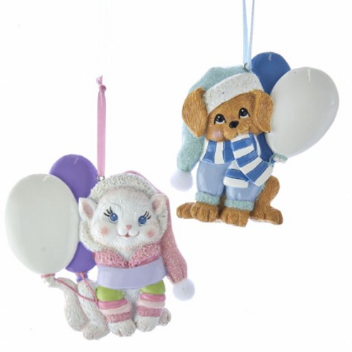 baby's first christmas dog (blue) or cat (pink)