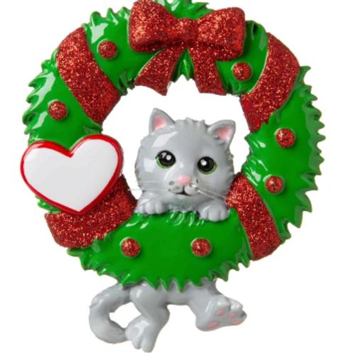 cat on wreath