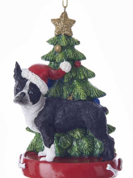 boston terrier with christmas tree