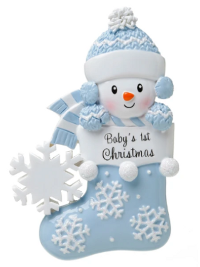 baby's first christmas in stocking, blue
