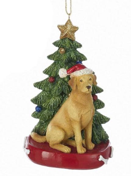 yellow lab with christmas tree