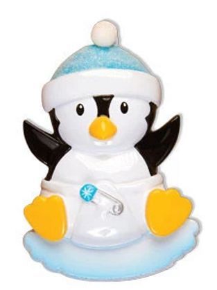 baby's first christmas penguin, blue