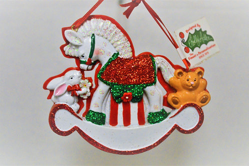 baby's 1st christmas rocking horse with red glitter