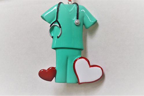 green scrubs with heart