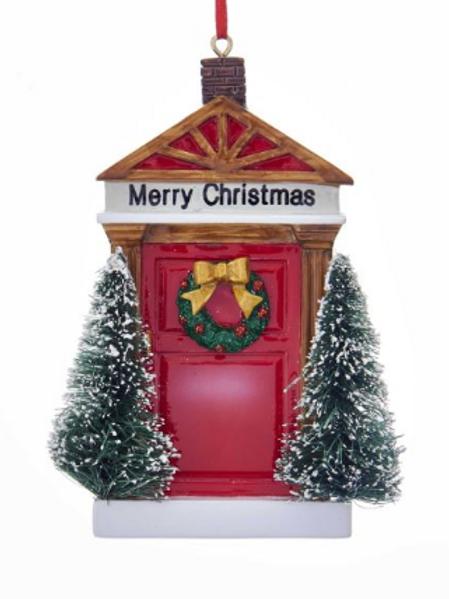 merry christmas door with trees