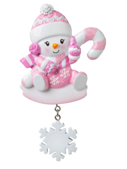 snowbaby with candy cane, pink