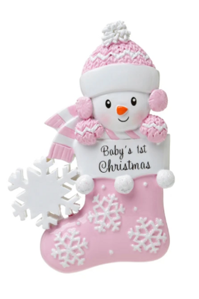 baby's first christmas in stocking, pink