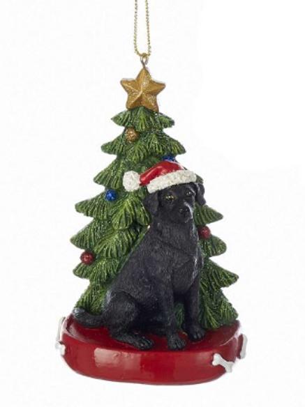 black lab with christmas tree