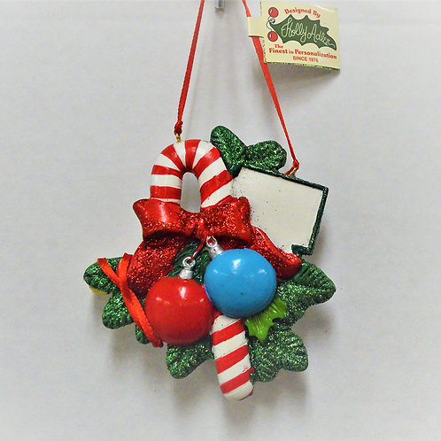 candy cane with two ornaments