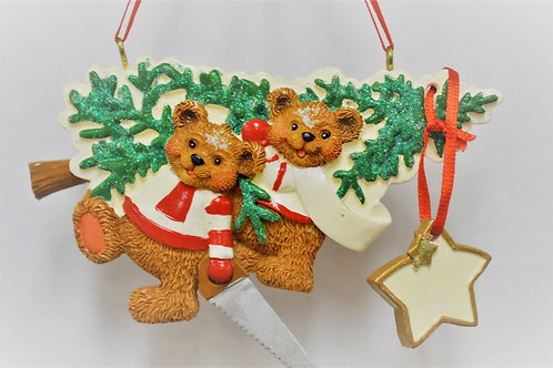 bear family with tree and saw