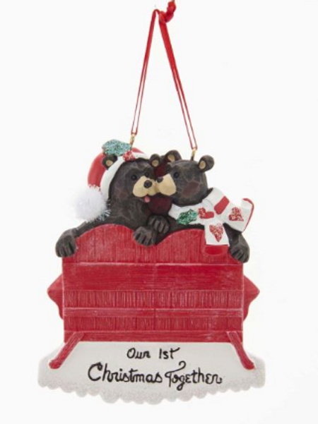 our 1st christmas together black bears on chair