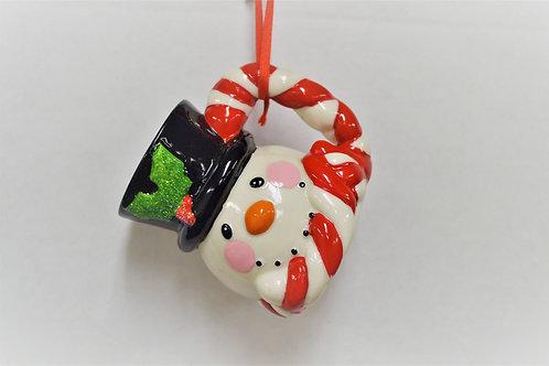 porcelain snowman mug, black hat