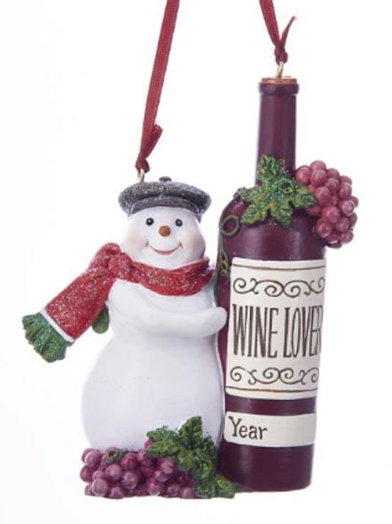 wine loving snowman
