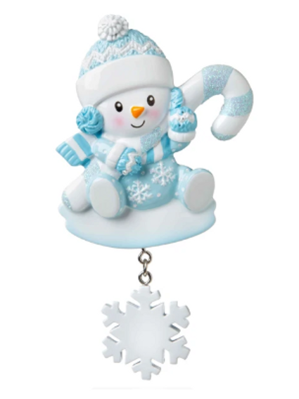 snowbaby with candy cane, blue
