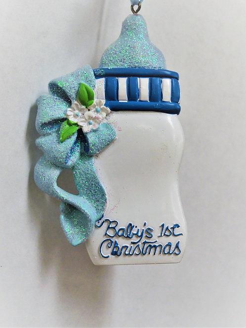 baby's 1st christmas blue bottle