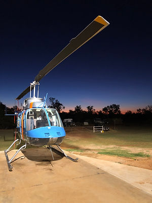 Longranger Helicopter at Night on HeliPad