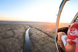 Helicopter flying over Katherine Gorge