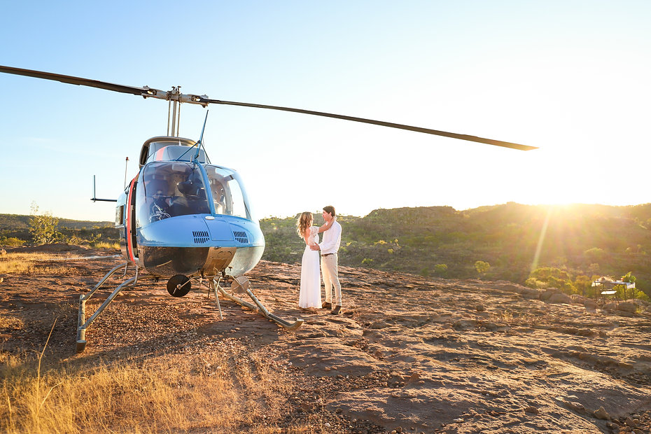 Helicopter and wedding couple on Katherine Gorge