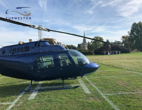Wedding drop off Turweston Helicopters.j