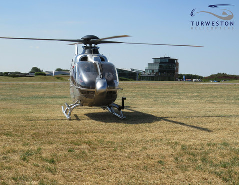 An EC135 at Turweston during the F1 at S