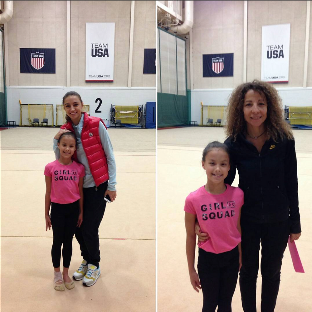 Erica F. at the Squad Training Camp in the Olympic Training Center in Lake Placid, New York with guest coaches Evgenia Kanaeva (two time Olympic Gold Medalist) and Adriana Dunavska