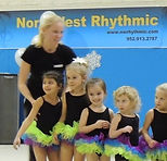 NorthWest Rhythmic's 3 and 4 year old recreational/beginner gymnastics classes introduce the toddlers to the magic of Rhythmic Gymnastics by teaching them the basic skills and how to use the apparatus like ribbons, hoops, balls, and ropes