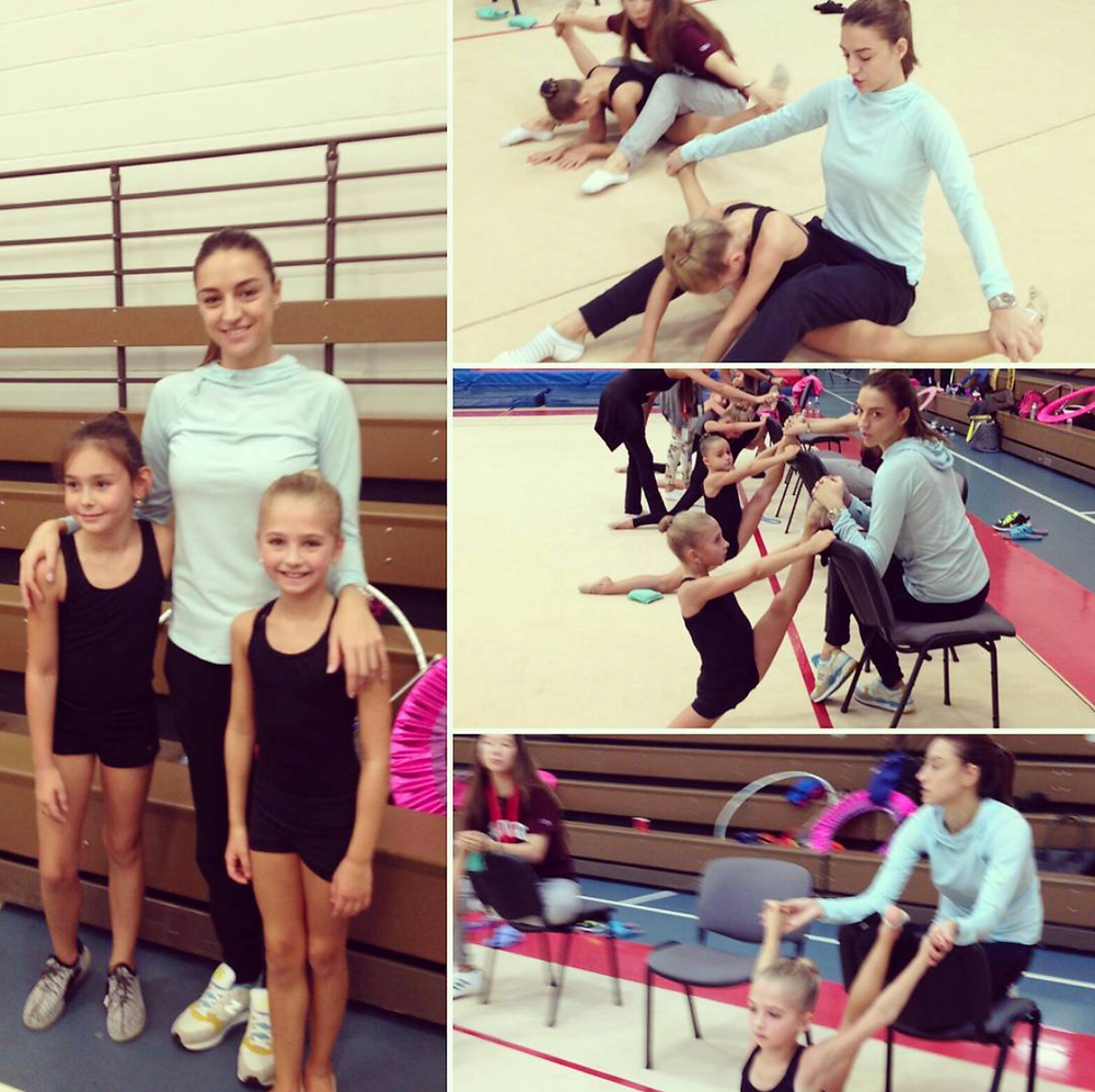 Victoria G. at the Young Squad Training Camp in the Olympic Training Center in Lake Placid, New York working with two time Olympic Gold Medalist Evgenia Kanaeva