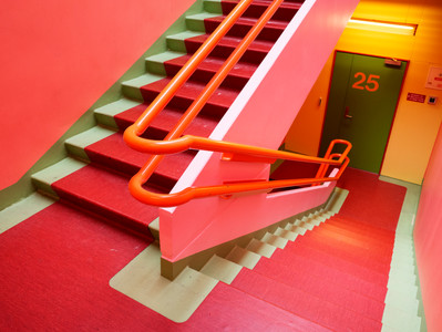 The bright colored stairway