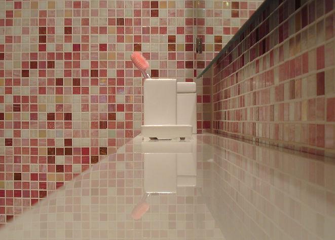 Contempoary Bathroom, Suspended Shelf, Tiles,Standoff Mirror