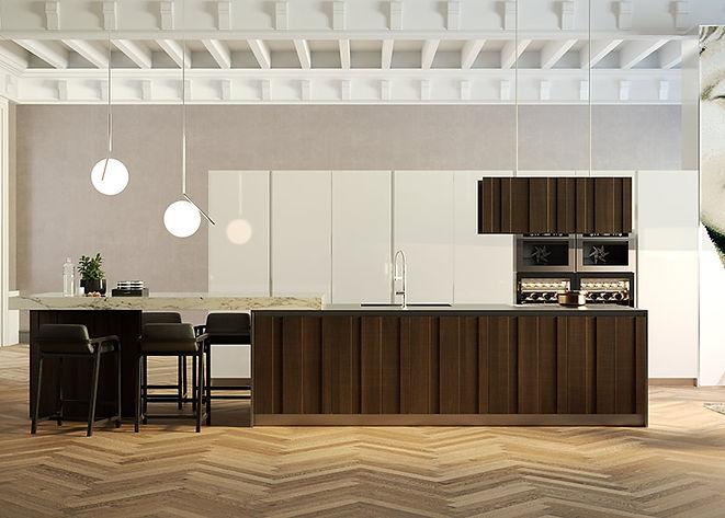 Traditional Kitchen, Chevron Floor, Dark Wood Cabinets