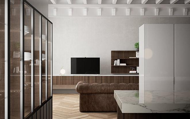 Glass WallUnit, Living Unit, Stone Countertops