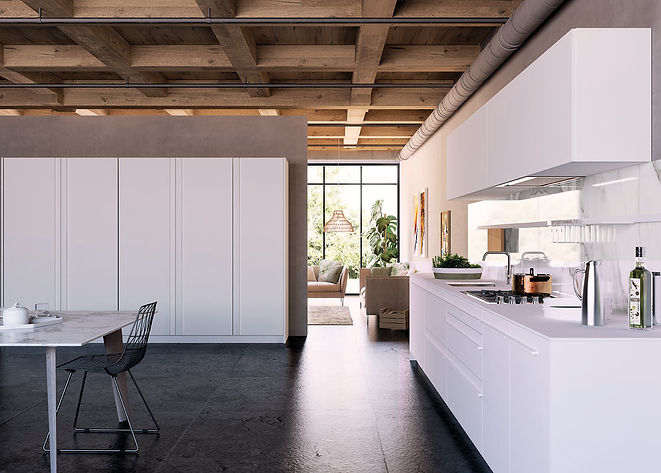 Wood Ceiling, Beams, Lacquerd Kichen, Concrete Floors