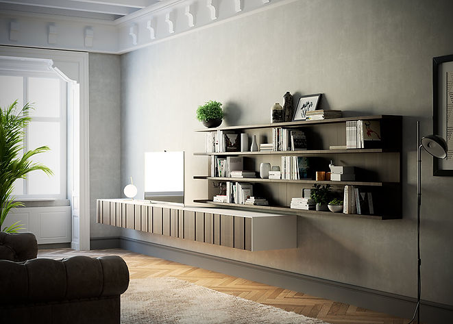 Classical Details, Floating Cabinets, Open Shelf, Shelves